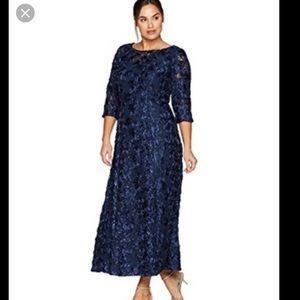 Alex Evenings plus Rosette dress with sequins